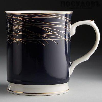 Beatrix МЛ060L1 кружка подарочная темно-синяя с золотым узором, 400 мл, фарфор, 1 шт