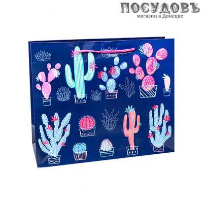 Dream cards Интересные кактусы ПКП-1854 пакет подарочный, 420×520×160 мм, бумага