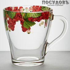 ОСЗ 1649/91 кружка 250 мл, стекло, прозрачная с рисунком Красная смородина, Россия 1 шт.