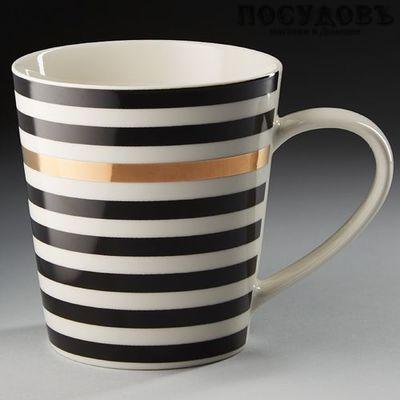 Rosario Ф16-023L кружка, белая с черным рисунком Полоска, фарфор, 400 мл