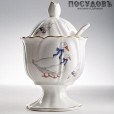Beatrix Гуси МН091Е сахарница с крышкой и ложкой, 100?100?160 мм, 250 мл, фарфор, Китай