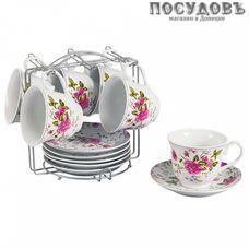 Beatrix Гармония Ф5-019К/12 набор чайный, фарфор, металлическая подставка, в подарочной упаковке 12 пр.