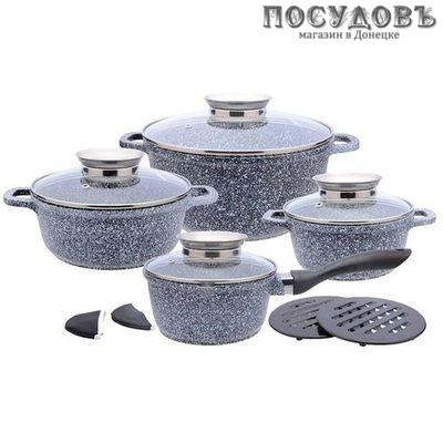 Klausberg KB-7325 набор посуды, алюминий литой, мраморное антипригарное покрытие, 12 пр.