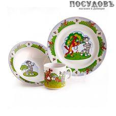 Priority Простоквашино КРС-354 набор детский, фарфор, Россия, подарочная упаковка 3 пр.
