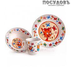Priority Три кота. Бабочки. КРС-821 набор детский, фарфор, Россия, подарочная упаковка 3 пр.