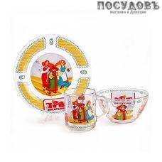 Priority Три богатыря. Царевны КРС-844 набор детский, стекло, Россия, подарочная упаковка 3 пр.