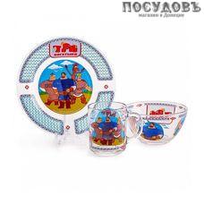 Priority Три богатыря КРС-848 набор детский, стекло, Россия, подарочная упаковка 3 пр.