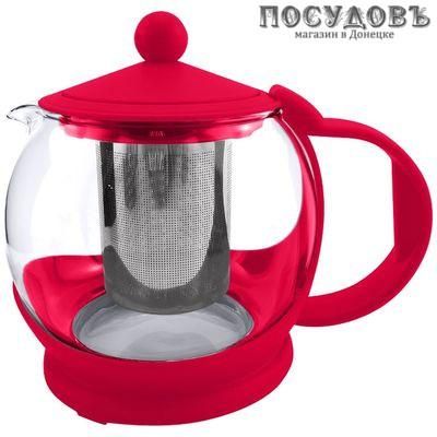 Alpenkok AK-5505/17 чайник заварочный с фильтром, стекло, 800 мл малиновый