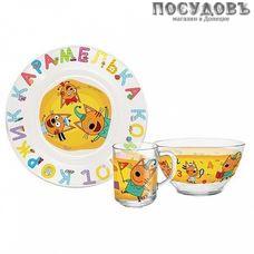 Priority Три кота. Цифры и Буквы КРС-1291 набор детский, стекло, в подарочной упаковке 3 пр.