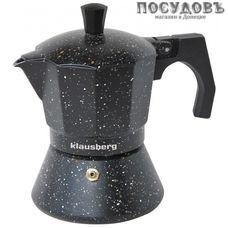 Klausberg KB-7159 гейзерная кофеварка, алюминий литой, 300 мл, цвет черный