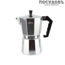 LARA LR06-73, гейзерная кофеварка, 425 мл, алюминий литой, пластиковая ручка, Китай, в упаковке 1 шт