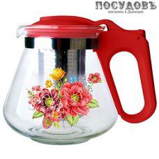 Alpenkok АК-5512/1A красный, чайник заварочный с фильтром из нержавеющей стали, 700 мл, стекло термостойкое, пластиковая ручка, Китай, в упаковке 1 шт