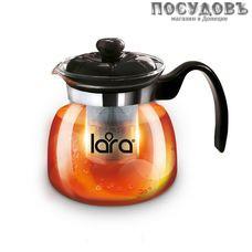 LARA LR06-08, чайник заварочный с фильтром, стекло жаропрочное, 750 мл, Китай, в подарочной упаковке 1 шт