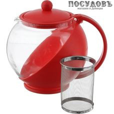 MAYER and BOCH 25739 красный, чайник заварочный с фильтром, 1 250 мл, стекло термостойкое, пластиковый корпус, Китай, в упаковке 1 шт