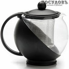 MAYER n BOCH MB-25739-3 чайник заварочный с фильтром, стекло термостойкое, 1250 мл, цвет черный