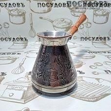 Пятигорск Медная роза 4602, турка, 540 мл, медь, деревянная ручка, Россия, без упаковки 1 шт