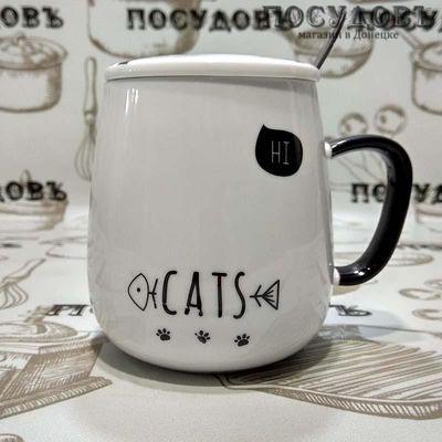"""Кружка подарочная Коралл """"Cats"""" 400 мл, фарфор, с крышкой и ложкой в упаковке 1 шт"""