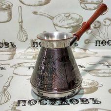 """Пятигорск """"Алые паруса"""" 6804, турка, 540 мл, медь, деревянная ручка, Россия, без упаковки 1 шт"""