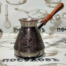 """Пятигорск """"Ромашка"""" 6620, турка, 400 мл, медь, деревянная ручка, Россия, без упаковки 1 шт"""