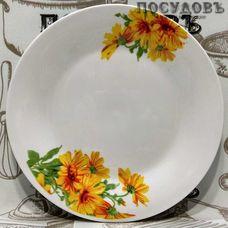 "Десертная тарелка Батлер ""Желтые хризантемы"" цвет белый с рисунком, Ø190 мм, фарфор 1 шт"