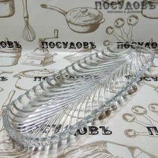 """Блюдо овальное Kaven """"Santa"""" цвет прозрачный, 395×140 мм, стекло, в упаковке 1 шт"""